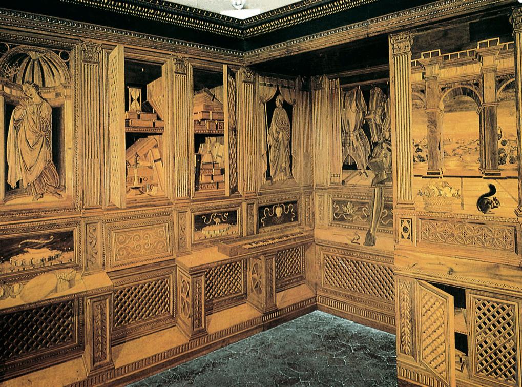 Lo studiolo di Federico da Montefeltro - Immagine tratta da dizionaripiu.zanichelli.it Marina Bozzo Pavimenti in Legno | Bozzo Parquet Chiavari